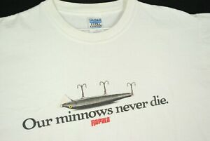 Vintage Y2K Rapala Our Minnows Never Die Lure Promo T Shirt White Fishing XL