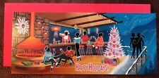 Vintage Style Christmas Card UNUSED ATOMIC MCM People House Party Cocktails