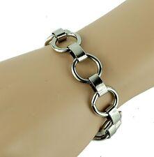 Silver Ring Link Chain Wrist Bracelet