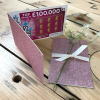 Dusky Pink Lottery Wedding Favor Scratch Card Favour Lotto Holder