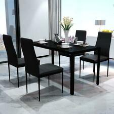 Modern 5 Piece Dining Dinner Breakfast Glass Top Table and Seat Chairs Set Black