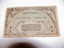 One Dollar Military Payment Certificate Series 481 US Army WWII Money Bill $1 GI