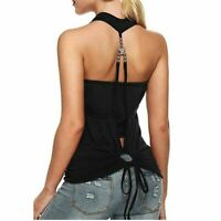 Sexy Black Sleeveless Racerback Halter Top Camisole Blouse For Women