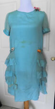 Vintage 20s Flapper Chiffon Aqua Blue Dress Ruffles Silk Flowers B36