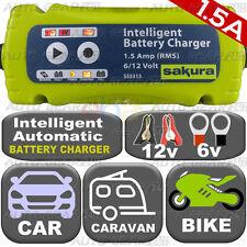 NEW Plug n Leave 1.5A 6v-12v Intelligent Smart Car Caravan Bike Battery Charger