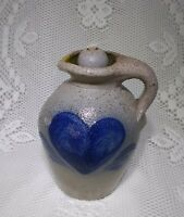 Rowe Pottery Works 1984 Salt Glazed Stoneware Jug/Oil Lamp - Blue Heart Motif