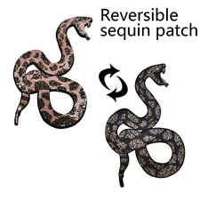 Snake Reversible Change Color Sequin Sew On Patches Clothes DIY Applique Craft#