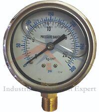 "Liquid Filled 2.5"" 300 PSI Air Pressure Gauge Lower Mnt / Side Mount"