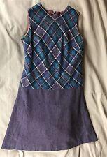 Vintage Harrod's Younger Set Jumper Purple Plaid Wool Mini Dress 38 M L