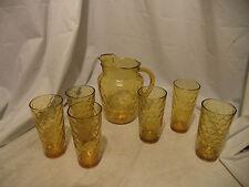 "BEAUTIFUL VINTAGE~AMBER/YELLOW GLASS PITCHER & 6 GLASSES  DIAMOND TEXTURED 9"""