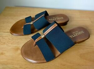 Barletta Sandals Size 38 / 7 Navy Blue Elastic Band Shoes Flats Made in Italy