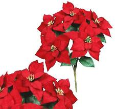 "5 Red Microfiber Poinsettias 20"" Bush Christmas Holiday Silk Flower Home Office"