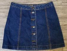 Petite Blue Topshop Button Through Mini Dark Denim Skirt Sz 10