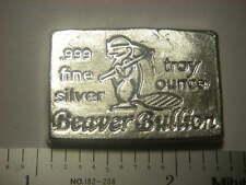 Beaver Bullion hand poured Canadian 1 troy ounce .999 fine silver bar