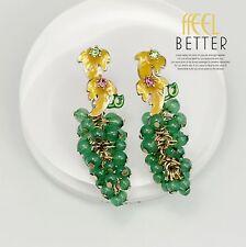 Ohrringe Mode Ohrstecker Grün Gelb Emaille Perlen Traube Baumblatt Anhänger L2