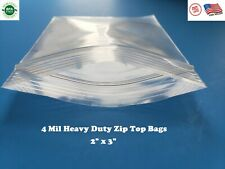 2x 3 Clear 4 Mil Plastic Zip Seal Bag Reclosable Top Lock 4mil Small Baggie