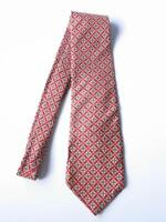 Vintage Guy Laroche Couture Silk Neck Tie Red Geometric