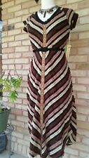Ivy Jane/ uncle frank Casual brown combo-peasant maxi striped dress, size Xsmall