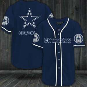 Dallas Cowboys Mens Casual Button Down Baseball Shirts Tops Logo Uniform US Size