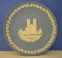 Wedgwood Jasper Ware Blue Plate Christmas 1977 Westminster Abbey