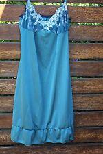Women Lady Sleek Strap Green Satin Chemise Nighties Pajama Gown Dress Sleepwear