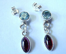 Red Garnet and Faceted Blue Topaz Stud Earrings Sterling Silver Dangle