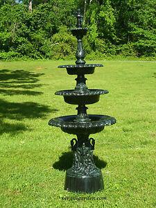 Cast Aluminum French Victorian Outdoor Four Tier Garden Water Fountain Antique