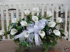White Calla Lilies Cemetery Grave Flowers Feathery Fern Silk Casket Memorial