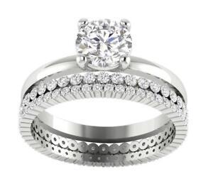 Bridal Engagement Ring Set I1 G 2.25 Ct Natural Diamond 14K Solid Gold Appraisal