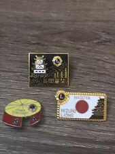 "VINTAGE LIONS CLUB PIN LOT OF 3 PINS NAGOYA MIZUHO OSAKA SUMIYOSHI AVERAGE 1"""