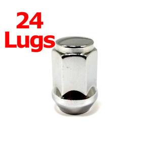 """24x Excalibur 1907 Lug Nuts 12x1.50 Bulge Acorn 3/4"""" Hex Chrome Closed End"""