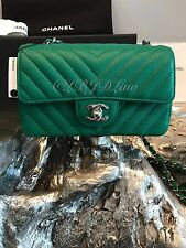 NWT CHANEL 2017 Rectangle Mini DARK KELLY GREEN Caviar CHEVRON Classic Flap NEW