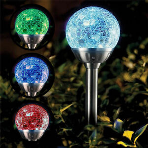 4x Solar Powered Colour Changing Glass Crystal Ball Garden Path Stake Lights