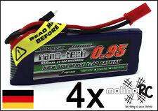 4x Turnigy nano-tech 950mah 1S 25~50C Lipo Akku NEU OVP 3,7V Walkera V120 X100