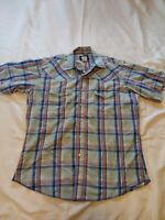 VTG WRANGLER Men's Size Large Pearl Snap Button Down Plaid Western S/S Shirt