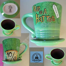 New Auth Disney Parks Alice in the Wonderland Mad as a Hatter Green Tea Cup Mug