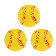 3x 9inch Exercise Batting Training Baseball Softball Bouncy Ball Yellow