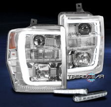 FOR 2008-2010 FORD SUPER DUTY LED TUBE CHROME PROJECTOR HEADLIGHT LAMP W/DRL KIT