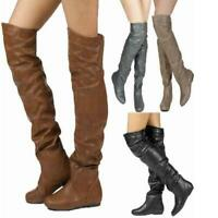 Ladies Thigh High Over The Knee Boots Womens Slough Wide Calf  Heels Shoes