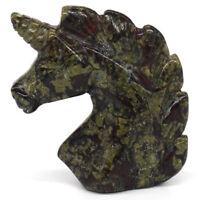 Dragon Blood Jasper Unicorn Figurines Healing Crystal Natural Gemstone Ornaments