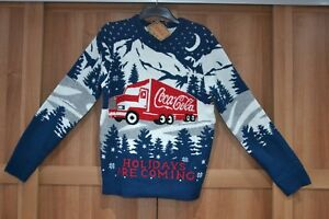 """Brand New Coca Cola Christmas Truck Navy Jumper Holidays Are Coming XS 33-35"""""""