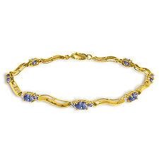 2.01 Ctw 14K Solid Gold Fine Bracelet with Authentic Natural Tanzanite Diamonds
