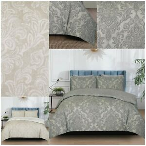 Damask Printed Duvet Quilt Cover Bedding Sets With Pillowcases Double King Size