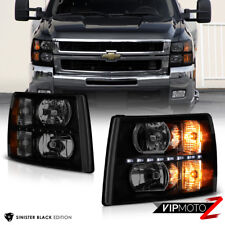 [BUILT-IN LED DRL] 2007-2013 Chevy Silverado 1500 2500HD 3500HD Smoke Headlights