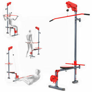 LAT PULL DOWN MACHINE WITH SEAT WALL MOUNTED MULTI GYM HOME FITNESS NEW UK