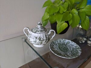 Johnson Brothers Paisley Green Sugar Bowl with Lid Saucer Plate Made in England