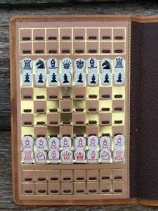 Vintage 'Sutton Coldfield' Travelling Chess Set in Leather Wallet