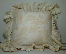 BARBARA BARRY Caprice Melon Feather Square TOSS PILLOW Ruffle Ivory Melon Orange
