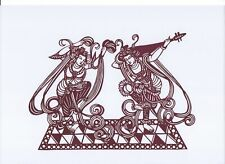 Chinese Paper Cuts A Pair Dancing Fairy Brown Color Large Single Piece