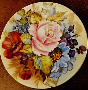 RARE AYNSLEY CABBAGE ROSE SMALL PLATE SIGNED BAILEY